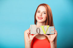 Women with word Love Royalty Free Stock Image