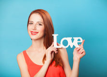 Women with word Love Royalty Free Stock Photo