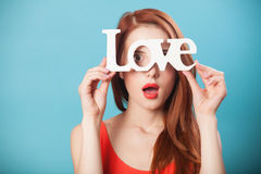 Women with word Love Stock Photography
