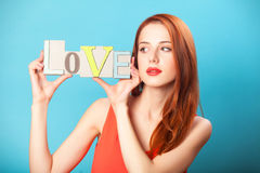 Women with word Love Royalty Free Stock Photos
