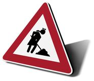 Women @ work. Traffic sign woman work in progress 3d illustration Royalty Free Stock Images