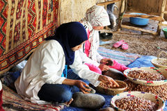 Women work. May 28, 2012: Women work in a cooperative for the manufacturing of argan fruits Royalty Free Stock Photo