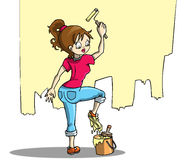 Women at work. Drawing of a young awkward girl painting Royalty Free Stock Photography