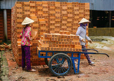 Women work in a brickworks Royalty Free Stock Photography
