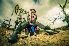 Women worker. Oil  & gas industry. Royalty Free Stock Images