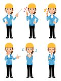 Women working at construction site Blue Jacket 6 different pose vector illustration