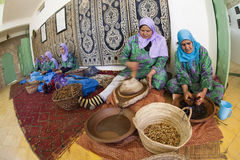 Women working in a cooperative feminine. ESSAOUIRA, MOROCCO-FEBRUARY, 7: women working in a cooperative for the manufacturing of argan fruits in Essaouira stock images