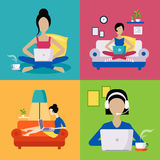 Women Working Freelance Illustration Set Stock Photos
