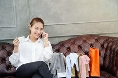 Women are working and happy. stock photos