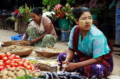 Women working in a market in Myanmar Stock Image