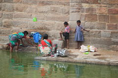 Women working near by a pond, India Royalty Free Stock Photo