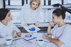 Women Working on New Business Strategy in Office. royalty free stock photography