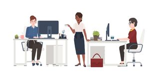 Women working at office. Female clerks dressed in smart clothes sitting in chairs at desks with computers or standing vector illustration