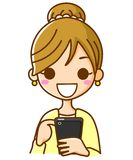 Women Working the phones. This is an illustration of a woman to operate a mobile phone Royalty Free Stock Photo