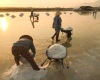 Women working on salt field in Ninh Hoa, Vietnam Stock Photo