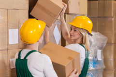 Women working in storehouse Royalty Free Stock Photo