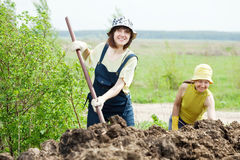 Women works with  manure at field Royalty Free Stock Photography