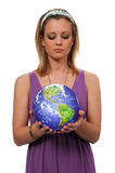 Women with world in her hands Stock Photography