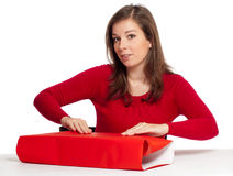 Women wrapping gift box Stock Images