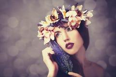 Women in wreath. Royalty Free Stock Image