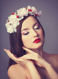 Women with wreath. Stock Image