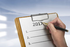 Women Write To Do List In 2017 Royalty Free Stock Photo