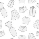 Women's Clothing  seamless pattern sketch. Clothes, hand-drawing, doodle style. Clothing, background. Women's clothes ve Stock Photography