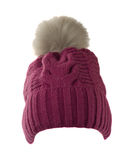 Women's knitted hat with pompom isolated on white background Stock Images