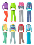 Women's tracksuits in flat design Royalty Free Stock Photos