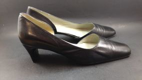 Women& x27;s vintage black leather shoes Stock Photography