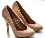 Women's Beige High Heels Royalty Free Stock Photos