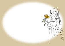 Women with yellow flower in hand illustration line art on frame background design Stock Photography