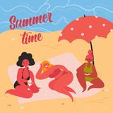 Women on yellow sand beach taking summer sunbath royalty free illustration