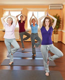 Women in yoga class in fitness Stock Photo