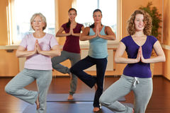 Women in yoga course in fitness. Four women in yoga course meditating in a fitness center Stock Photography