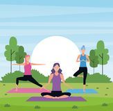 Women yoga in the park. With trees and rising sun vector illustration graphic design stock illustration