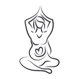 Women in yoga pose in line art style. Vector Stock Photos