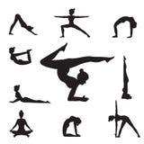 Women Yoga Poses Silhouettes . Royalty Free Stock Image
