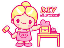 Women your own DIY Furniture is proud. Do it yourself Mascot. Wo Stock Photos