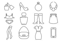 Womens accessories and clothes line icons set Royalty Free Stock Image