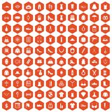 100 womens accessories icons hexagon orange. 100 womens accessories icons set in orange hexagon isolated vector illustration Royalty Free Stock Photos