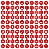 100 womens accessories icons hexagon red. 100 womens accessories icons set in red hexagon isolated vector illustration Stock Photography