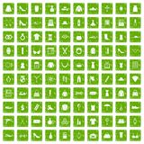 100 womens accessories icons set grunge green. 100 womens accessories icons set in grunge style green color isolated on white background vector illustration Vector Illustration