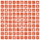 100 womens accessories icons set grunge orange. 100 womens accessories icons set in grunge style orange color isolated on white background vector illustration royalty free illustration