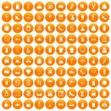 100 womens accessories icons set orange. 100 womens accessories icons set in orange circle isolated vector illustration Royalty Free Stock Image