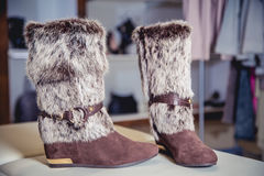 Womens Autumn boots, stylish Italian shoes Royalty Free Stock Photography