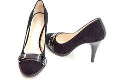 Womens black medium heeled court shoes. Womens black medium heeled court shoes on white Stock Image