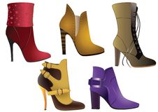 Womens boots. Collection of models of womens shoes on a white background stock illustration