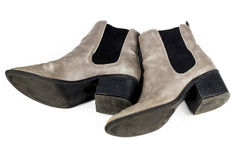 Womens Boots. Grey suede womens heeled boots royalty free stock image