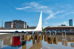 Womens Bridge with love locks, Buenos Aires Argentinien Royalty Free Stock Photography